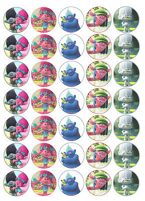 35 x TROLLS Edible Rice/Wafer Cake Cupcake toppers