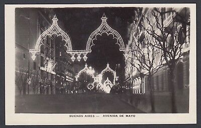 ARGENTINA 1930s FOUR BUENOS AIRES NIGHTTIME VIEWS REAL PHOTO POSTCARDS RPPCs