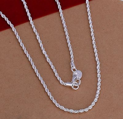 925 Sterling Silver Plated 2MM Twist ROPE Chain Necklace 16in/18in/20in/22in/24