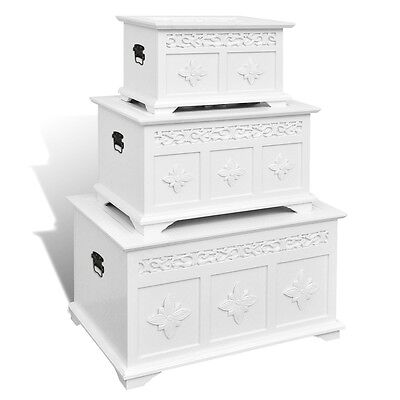 Set of 3 Organiser Wooden Box Storage Trunk Decorative Chest Coffee Table White