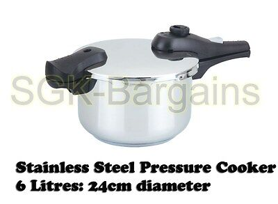 24cm / 6L Stainless Steel Kitchen Pressure Cooker Strong Handles  6 L Induction