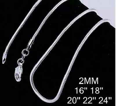 """2MM 925 Sterling Silver Plated Stamp 925 SNAKE chain Necklace 16"""" 18"""" 20"""" 22"""" 24"""