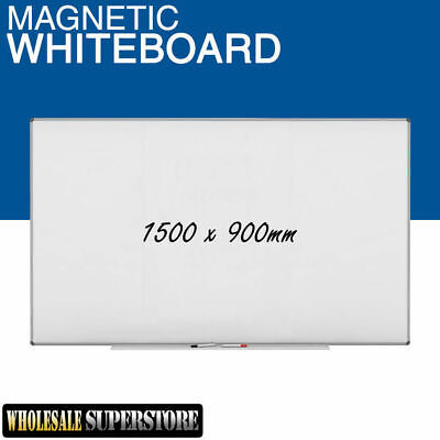 WHITEBOARD 1500 x 900mm Magnetic Commercial Quality - Board Office Eraser Marker