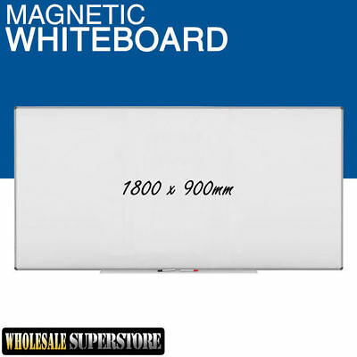 WHITEBOARD 1800 x 900mm Magnetic Commercial Quality - Board Office Eraser Marker