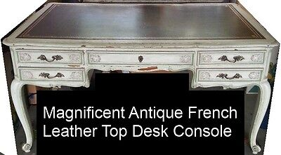 French Antique Leather-Top Desk
