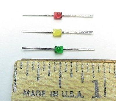 10 each red, green, yellow 2mm axial leds for S Scale Model Railroad Signals