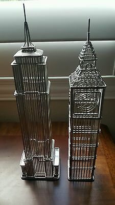 SET of 2 NYC Chrysler Building and London Big Ben Model Wire Statues Gift Design