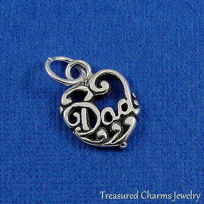 6ec6591c9 .925 Sterling Silver DAD HEART CHARM Daddy Father Heart Love PENDANT *NEW*