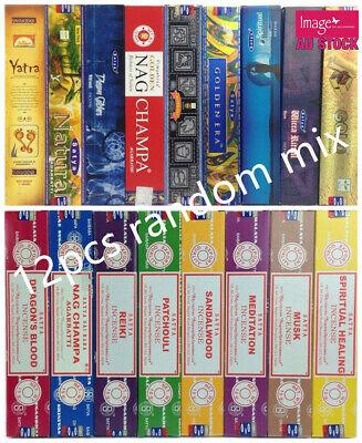 12boxes 15g Incense Stick Export Quality Handrolled Various Flavors SATYA