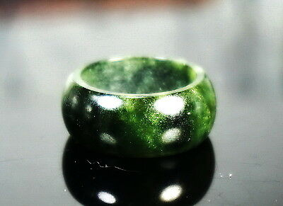 Vintage Fine Chinese Natural Spinach Green Jade Jadeite Cocktail Ring Size 9