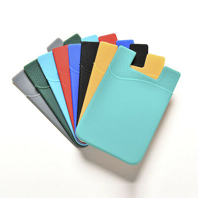 Silicone Mobile Phone Wallet Credit Card Cash Stick Adhesive Holder Case Gift WL