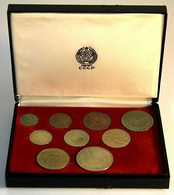 1961 RUSSIA USSR CCCP SOVIET UNION - OFFICIAL PROOF MINT SET (9) in BOX - RARE!