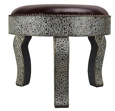 3 Legged round Moroccan Silver Brown Leather stool - Di 45 H45 CM
