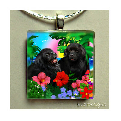 Newfoundland Dogs Tropical Charm Jewelry Necklace Gift Pet Glass Tile Pendant