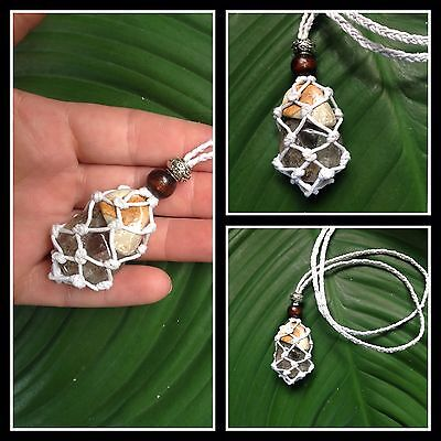 Inclusion Quartz and Amulet Stone Crystal Healing Macrame Pouch necklace