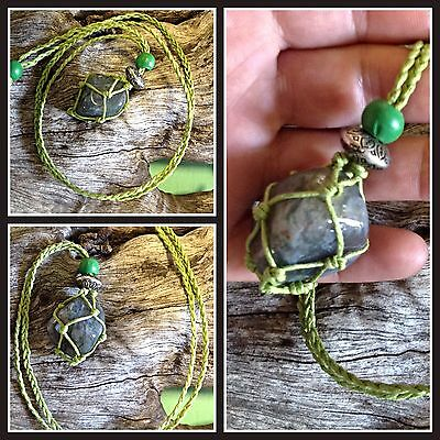 Indian Agate  Crystal Healing Macrame Pouch necklace