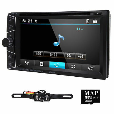 Hizpo HD Touch Screen Double 2 DIN Car GPS Stereo DVD Player Bluetooth Radio+Cam
