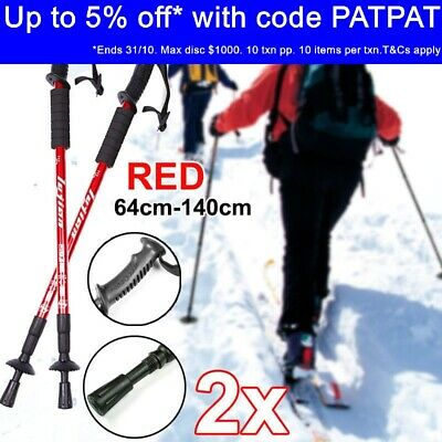 New Trekking Hiking Poles Walking Stick Anti Shock Adjustable Camping Red AU