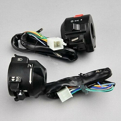 """Pair Motorcycle 7/8"""" Handlebar Control Horn Turn Signal Electrical Start Switch"""