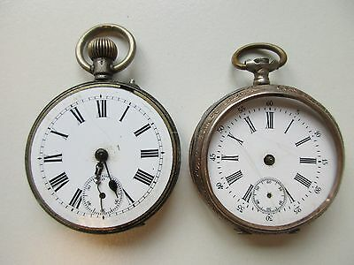 Lot of 2 silver gents size pocket watches ø 43.5 & 44.5 mm ~ for parts / repair