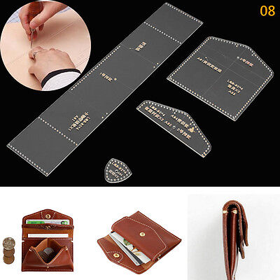 DIY Acrylic Clear Leather Template Kit for Wallet Leathercraft Leather Pattern