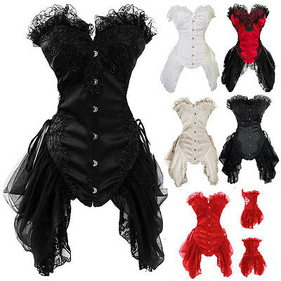 Women Burlesque Costume Corset Basque Cincher Lingerie Bustier Shaper Royal Lace