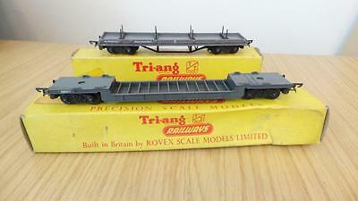 B238: Triang ' TT '  Gauge T174 & T173 Bogie Well & Bolster Wagons (Boxed)