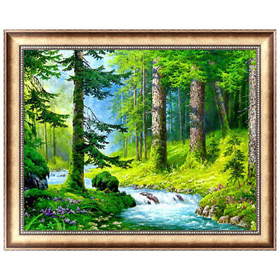 New DIY Green Forest 5D Full Diamond Embroidery Painting Cross Stitch Home Decor