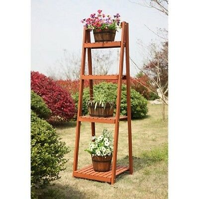 4 Tier Wood Plant Stand Slatted Ladder Indoor Outdoor Flower Herbs Garden Shelf
