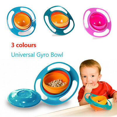 Baby Kid Food Spilling Gyro Bowl Dishes 360 Rotate Non Spill Bowl Feeding Dish