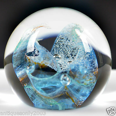 LARGE CAITHNESS Force Ten Scottish Art Glass Paperweight Artist SIGNED #1478