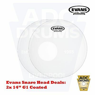 """2x Evans 14"""" Level 360 G1 Coated Snare Drum Head (Skin Pack)"""