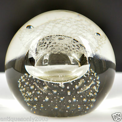 LARGE CAITHNESS Silver Rain Scottish Glass Paperweight Artist SIGNED 1992 #1480