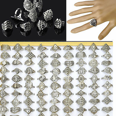 20X Wholesale Lot Jewelry Mixed Style Tibet Silver Vintage Rings Hollow Sz 6 7 8
