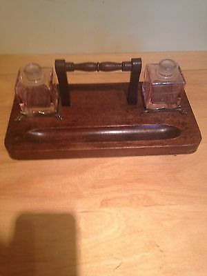 Old Victorian writing stand with inkwell bottles and pen holder collectable wood