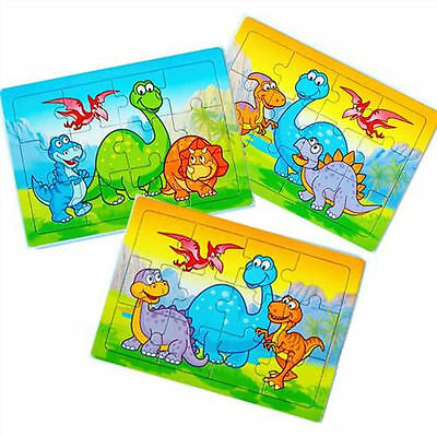 6 Dinosaur Jigsaw Puzzles - Pinata Toy Loot/Party Bag Fillers Wedding/Kids
