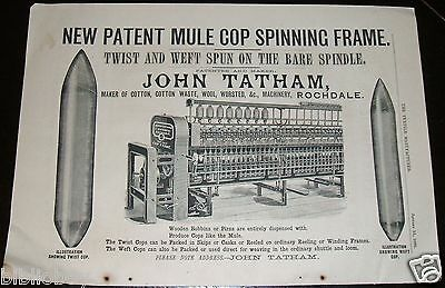 1886 Illustrated Advertisement for a Spinning Frame made John Tatham