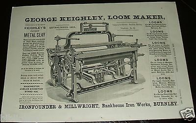 1887 Illustrated Advertisement for George Keighley, Loom Maker, Burnley, England