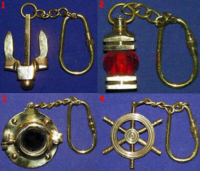 "Solid Brass Nautical Key Chains~ 3"" ~ Anchor, Port Light, Port Hole, Ships Wheel"