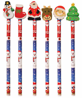 6 Christmas Pencils & Erasers - Pinata Rubbers Loot/Party Bag Fillers
