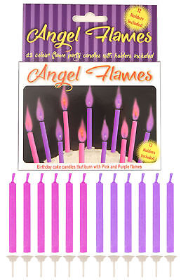 12 Pink & Purple Angel Flames Candles - Cake Decoration Party Wedding/Kids