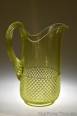 c. 1880s No. 740 STRAWBERRY DIAMOND by Central Glass CANARY Water Pitcher