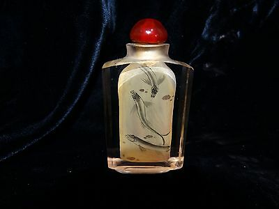 """Chinese glass snuff bottle 3.25"""" interior painted with fish signed QUALITY"""