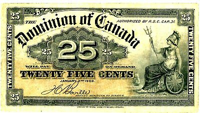 Canada … P-9b … 25 Cents … 1900 … *F* … OFF CENTER ERROR