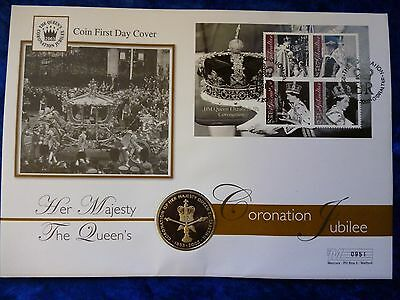 Ascension Island / Gibraltar Proof 50 Pence PNC 2003 Coronation Anniversary
