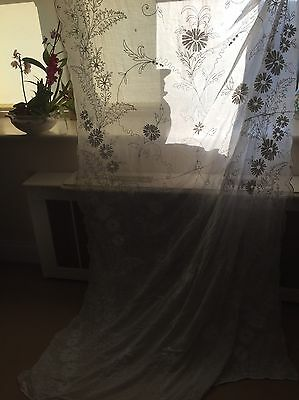 Antique French Chateau Cornelli Tambour Lace Curtain Some Damage For Project