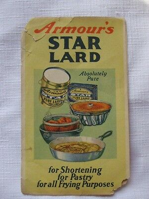 Vintage c.1920s Armour's Star Lard Recipe Foldover Booklet-Free US Shipping
