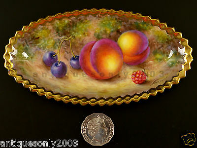 RARE Royal Worcester Fruit Hand Painted Crimped Gold Edge Dish Signed FREEMAN