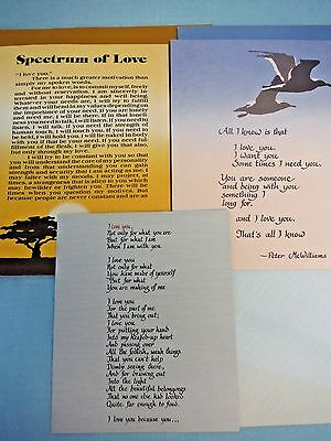 Lot of 3 Blue Mountain Arts Vintage 1970s *Love* Cards with Envelopes, Unused