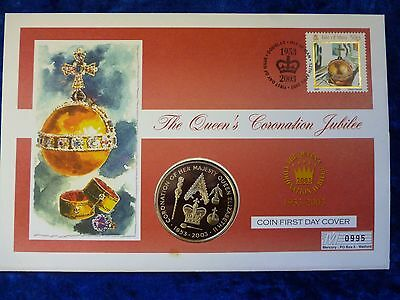 St Helena / Isle of Man Proof 50 Pence PNC 2003 Coronation Anniversary
